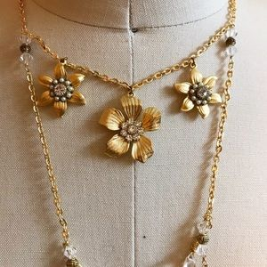 Anthropologie Goldtone and Crystal Necklace